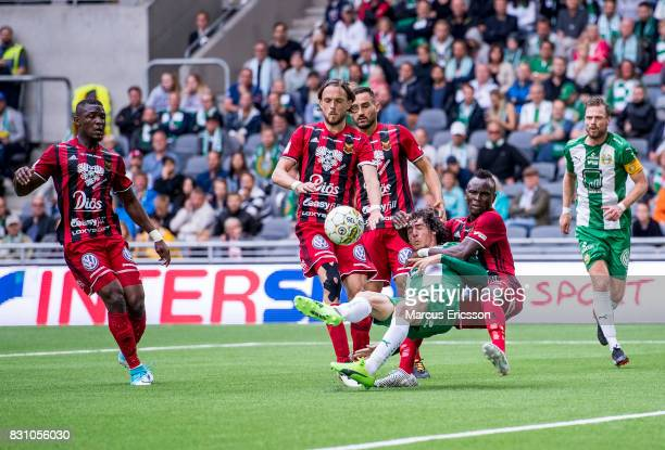 Tom Pettersson Sotirios Papagiannopoulus and Sam Mensiro of Ostersunds FK against Romulo Pereira Pinto of Hammarby IF during the Allsvenskan match...