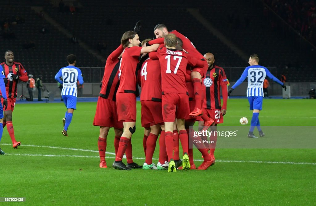 Tom Pettersson, Sotiris Papagiannopoulos, Curtis Edwards and Gabriel Somi of Oestersunds FK celebrate after scoring the 0:1 during the UEFA Europa League, Group J match between Hertha BSC and Oestersunds FK on December 7, 2017 in Berlin, Germany.