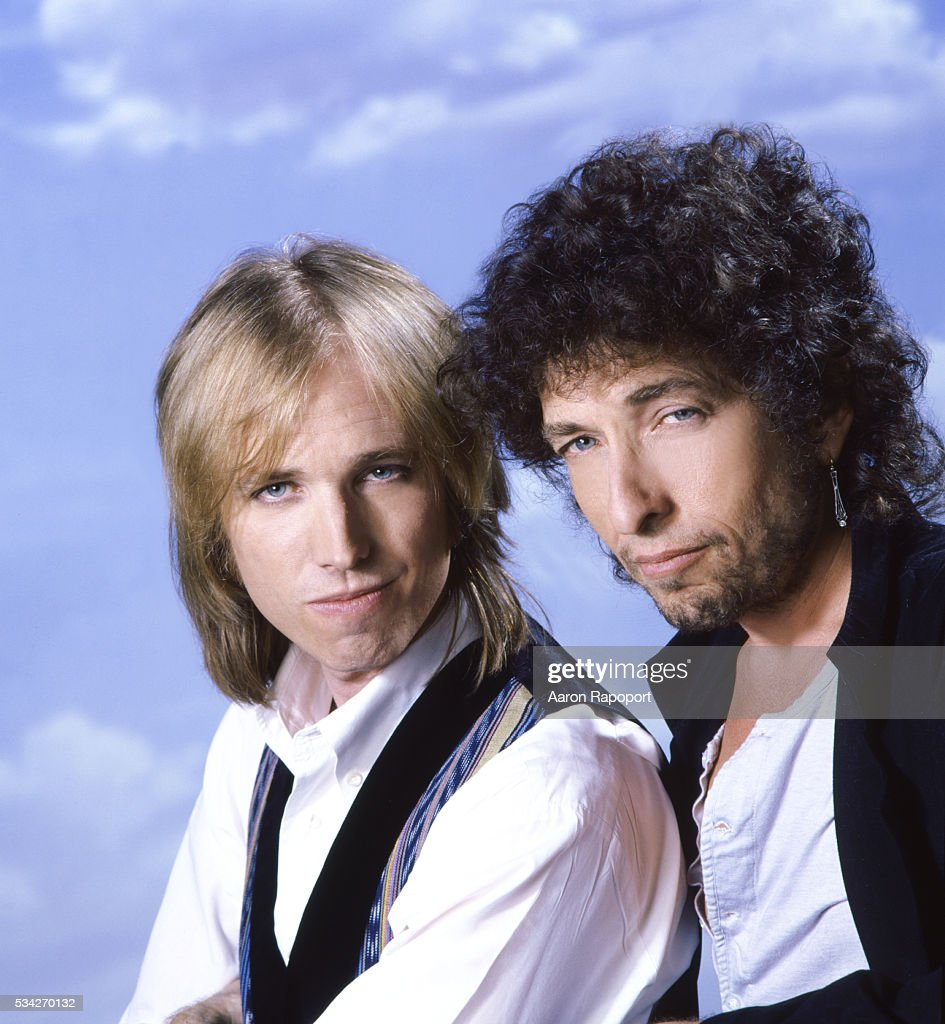 Tom Petty and Bob Dylan pose for a Rolling Stone Magazine cover in Los Angeles, California in 1986.