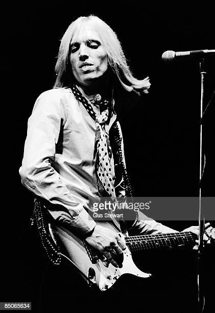 Tom Petty and the Heartbreakers perform on stage at The Rainbow Theatre Finsbury Park London 19 June 1977 He plays a Fender Stratocaster guitar