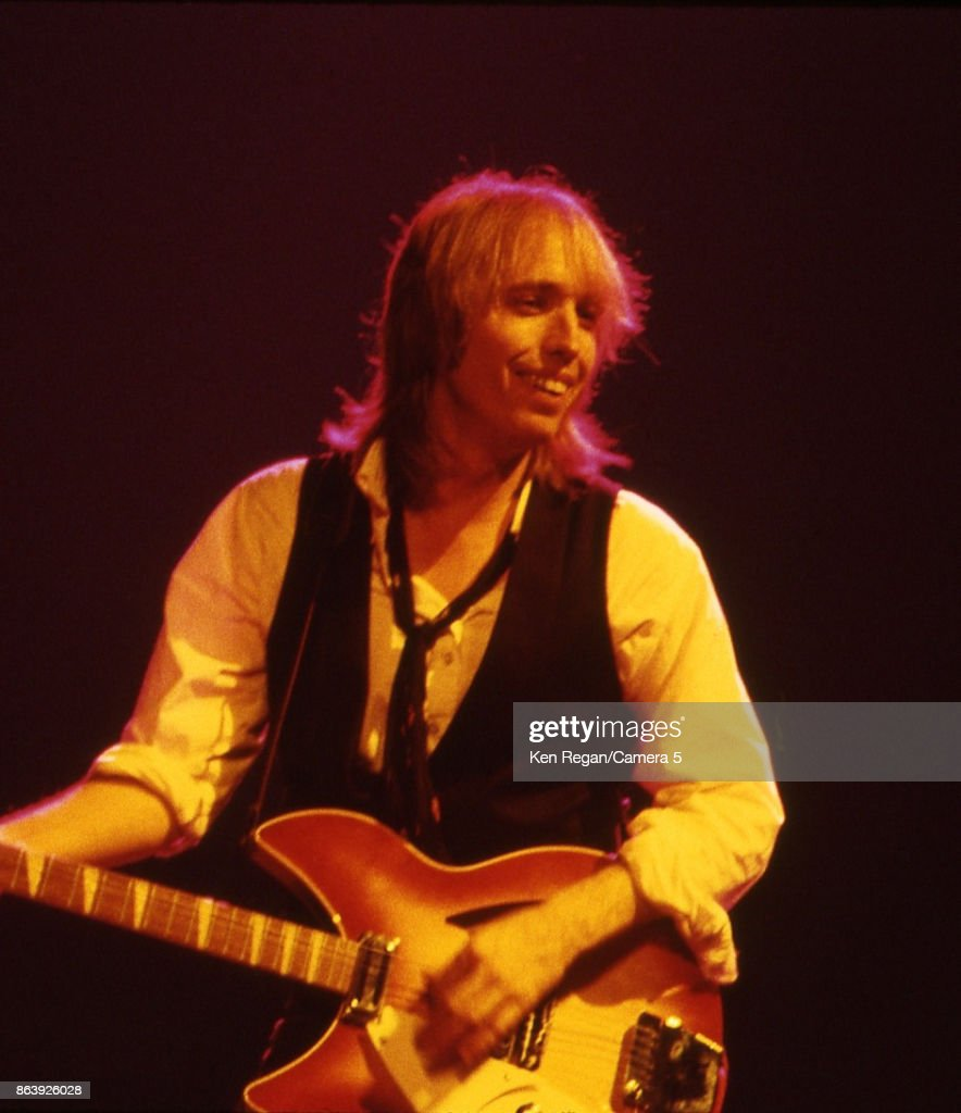 Tom Petty is photographed onstage during his True Confessions tour on July 17, 1986 at Madison Square Garden in New York City.