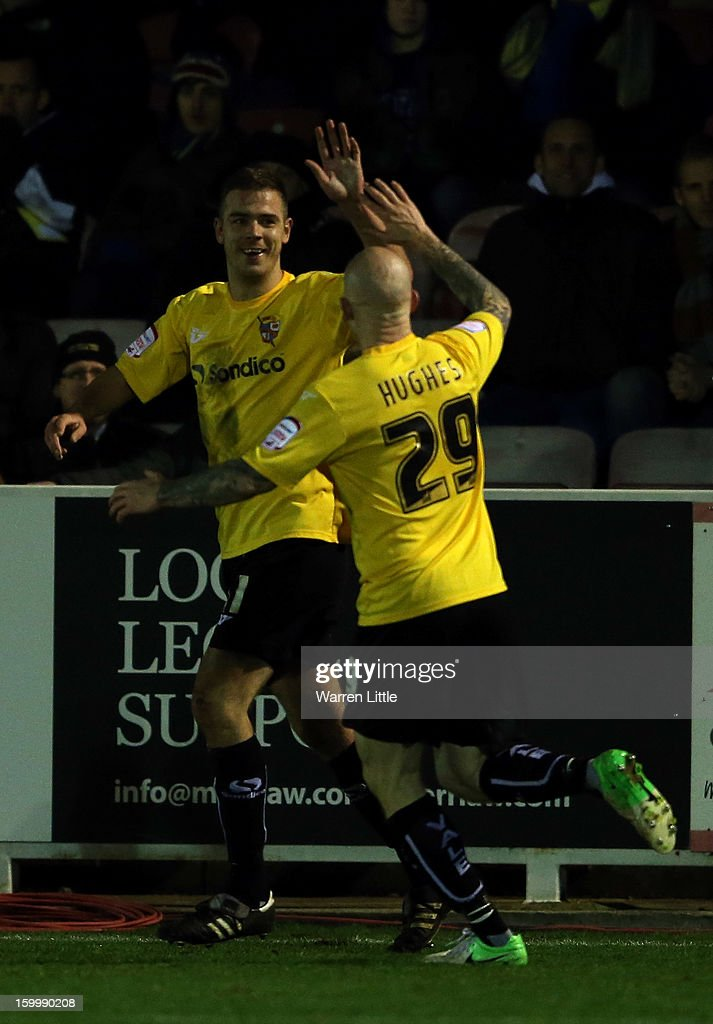 Tom Pope of Port Vale celebrates scoring a goal during the npower League Two match between AFC Wimbledon and Port Vale at The Cherry Red Records Stadium on January 24, 2013 in Kingston upon Thames, England.