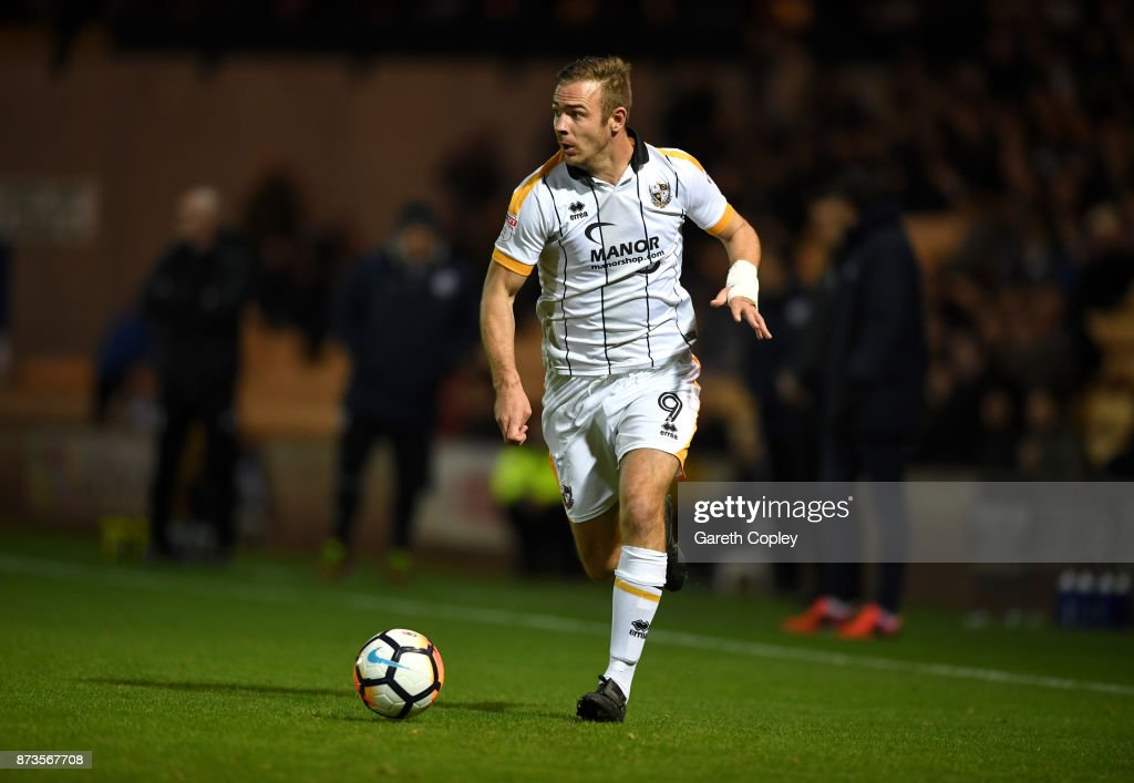Tom Pope of Port Vale during The Emirates FA Cup First Round match between Port Vale and Oxford United at Vale Park on November 3, 2017 in Burslem, England.