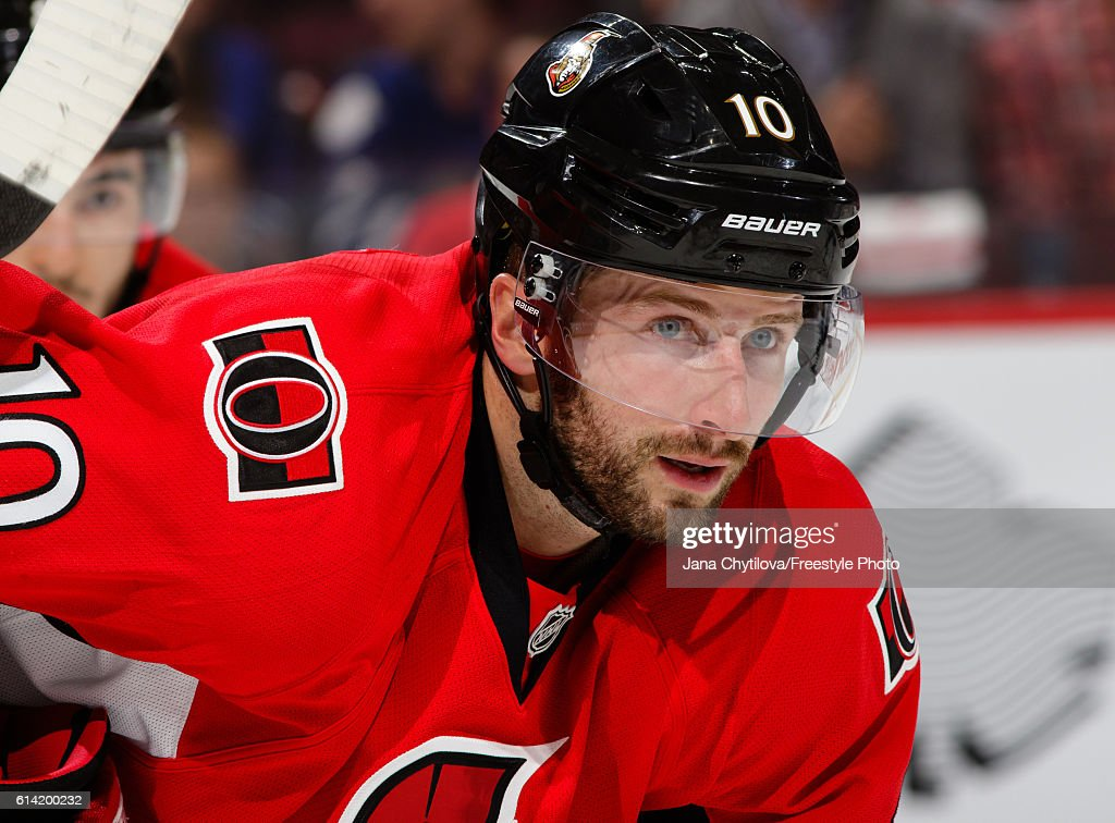 Tom Pyatt #10 looks on in his first game as a member of the Ottawa Senators against the Toronto Maple Leafs in their home opener at Canadian Tire Centre on October 12, 2016 in Ottawa, Ontario, Canada.