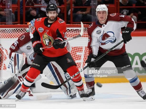 Tom Pyatt of the Ottawa Senators battles for position against Tyson Barrie of the Colorado Avalanche at Ericsson Globe on November 11 2017 in...