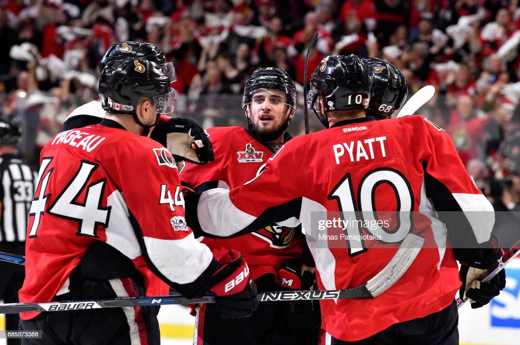 Tom Pyatt #10 of the Ottawa Senators celebrates after scoring a goal against Matt Murray #30 of the Pittsburgh Penguins during the third period in Game Four of the Eastern Conference Final during the 2017 NHL Stanley Cup Playoffs at Canadian Tire Centre on May 19, 2017 in Ottawa, Canada.