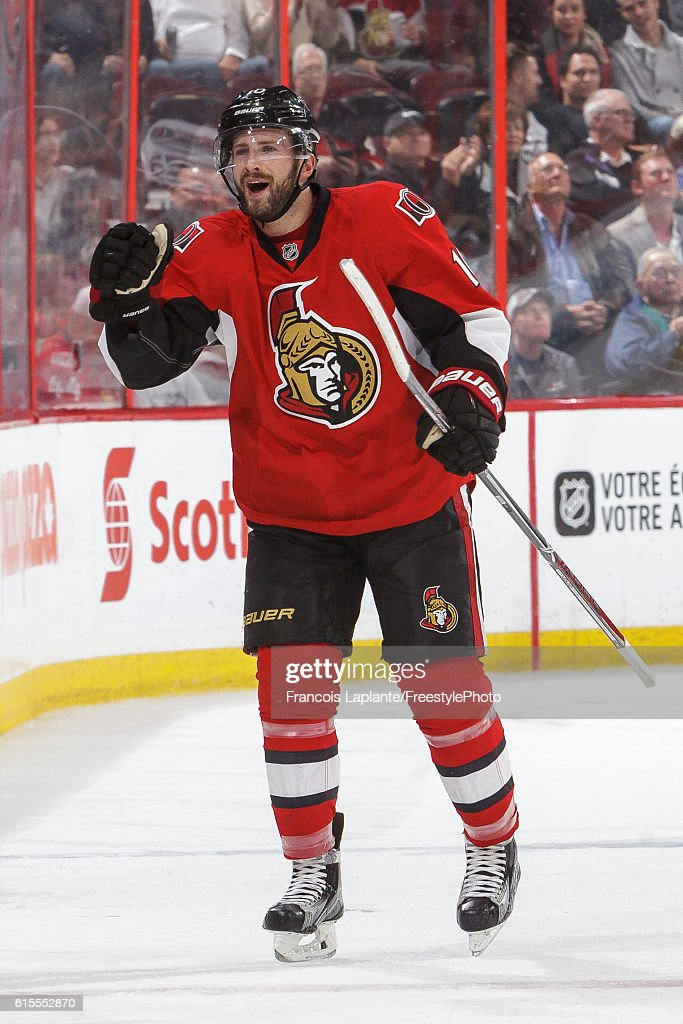 Tom Pyatt #10 of the Ottawa Senators celebrates his goal against the Arizona Coyotes in an NHL game at Canadian Tire Centre on October 18, 2016 in Ottawa, Ontario, Canada.