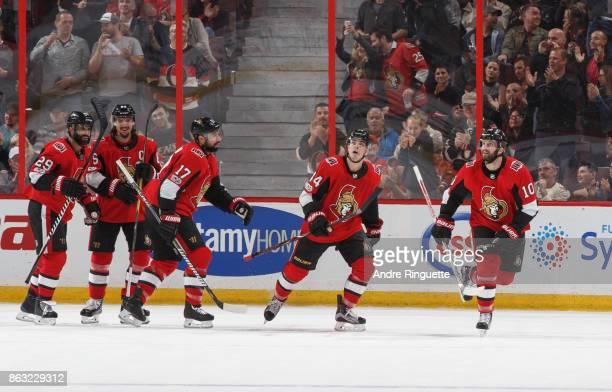 Tom Pyatt of the Ottawa Senators celebrates his second period goal against the New Jersey Devils with teammates Johnny Oduya Erik Karlsson Nate...