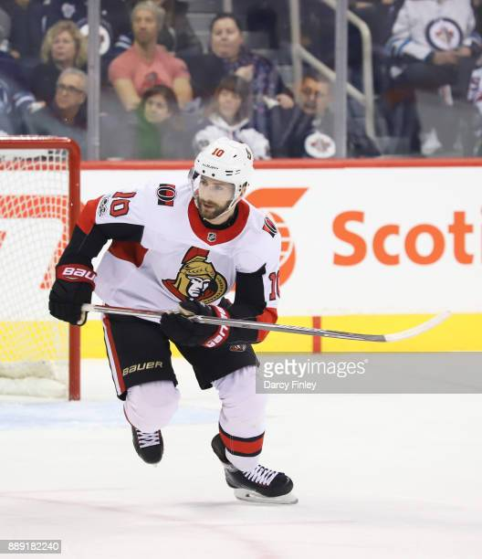 Tom Pyatt of the Ottawa Senators follows the play down the ice during first period action against the Winnipeg Jets at the Bell MTS Place on December...