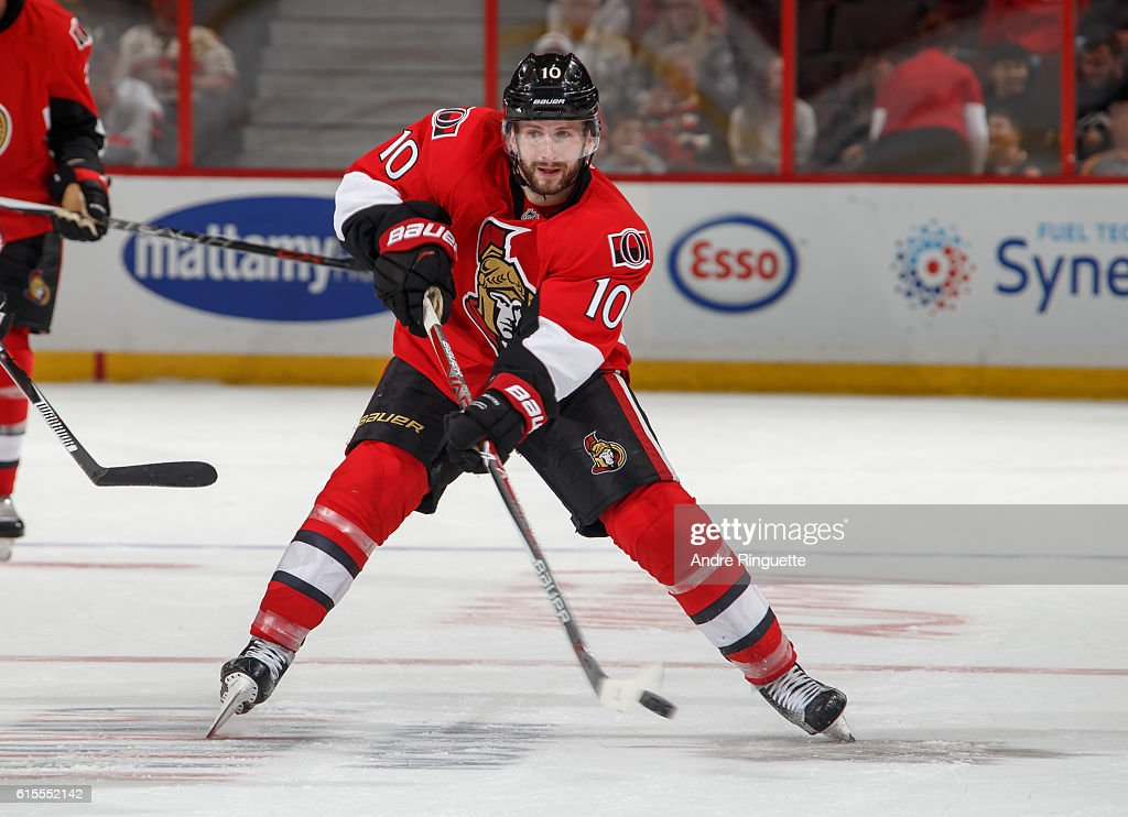 Tom Pyatt #10 of the Ottawa Senators passes the puck against the Arizona Coyotes at Canadian Tire Centre on October 18, 2016 in Ottawa, Ontario, Canada.