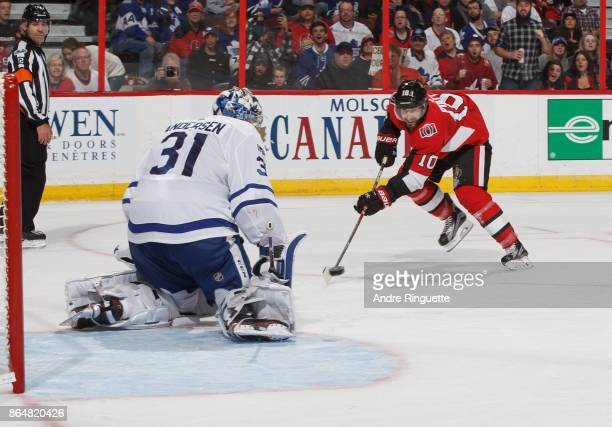 Tom Pyatt of the Ottawa Senators shoots the puck on a scoring chance as Frederik Andersen of the Toronto Maple Leafs makes the save at Canadian Tire...