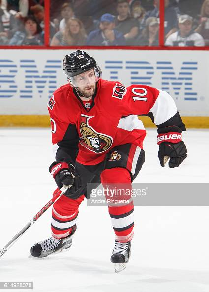 Tom Pyatt of the Ottawa Senators skates against the Toronto Maple Leafs at Canadian Tire Centre during the season opener on October 12 2016 in Ottawa...