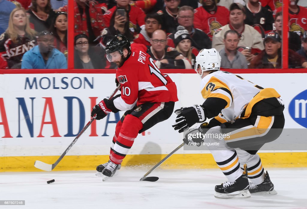 Tom Pyatt #10 of the Ottawa Senators stickhandles the puck away from Olli Maatta #3 of the Pittsburgh Penguins in Game Six of the Eastern Conference Final during the 2017 NHL Stanley Cup Playoffs at Canadian Tire Centre on May 23, 2017 in Ottawa, Ontario, Canada.