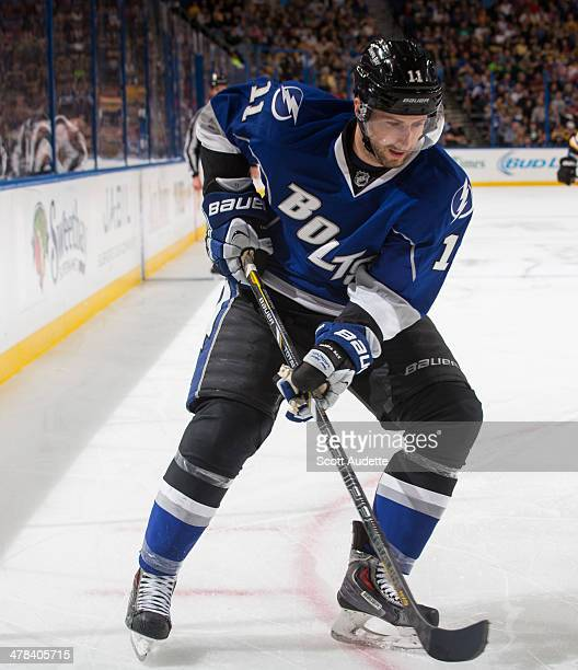 Tom Pyatt of the Tampa Bay Lightning skates against the Boston Bruins at the Tampa Bay Times Forum on March 8 2014 in Tampa Florida
