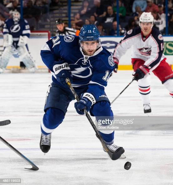 Tom Pyatt of the Tampa Bay Lightning skates against the Columbus Blue Jackets at the Tampa Bay Times Forum on April 11 2014 in Tampa Florida