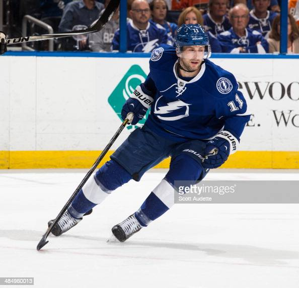 Tom Pyatt of the Tampa Bay Lightning skates against the Philadelphia Flyers at the Tampa Bay Times Forum on April 10 2014 in Tampa Florida