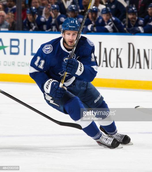 Tom Pyatt of the Tampa Bay Lightning skates against the Toronto Maple Leafs at the Tampa Bay Times Forum on April 8 2014 in Tampa Florida