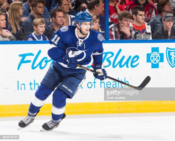 Tom Pyatt of the Tampa Bay Lightning skates against the Washington Capitals at the Tampa Bay Times Forum on January 9 2014 in Tampa Florida