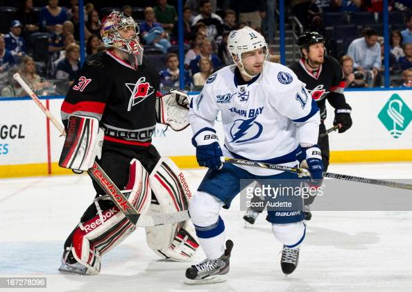 Tom Pyatt of the Tampa Bay Lightning skates during the first period of the game against the Carolina Hurricanes at the Tampa Bay Times Forum on April...