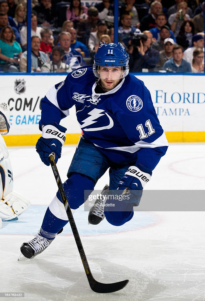 Tom Pyatt #11 of the Tampa Bay Lightning skates during the third period of the game against the Buffalo Sabres at the Tampa Bay Times Forum on March 26, 2013 in Tampa, Florida.