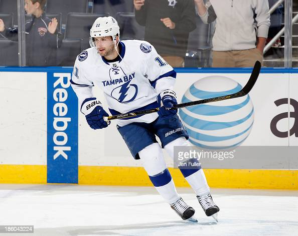 Tom Pyatt of the Tampa Bay Lightning warms up to play the Buffalo Sabres at First Niagara Center on October 8 2013 in Buffalo New York