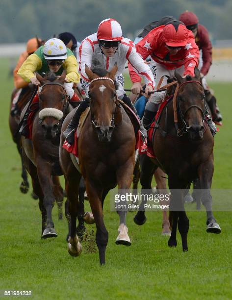 Tom Queally on Tiger Cliff wins the Betfred Ebor during day four of the 2013 Yorkshire Ebor Festival at York Racecourse York