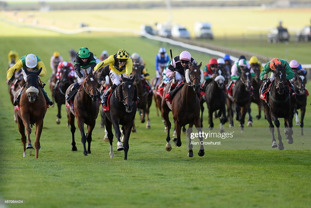 Tom Queally riding Big Easy win The Betfred Cesarewitch at Newmarket racecourse on October 11 2014 in Newmarket England