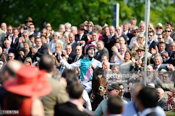 Tom Queally riding Frankel win The Qipco 2000 Guineas Stakes at Newmarket racecourse on April 30 2011 in Newmarket England