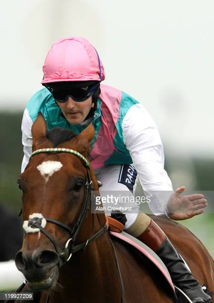 Tom Queally riding Frankel win the Qipco Sussex Stakes at Goodwood racecourse on July 27 2011 in Chichester England