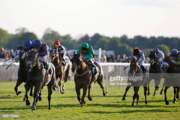 Tom Queally riding The Tin Man win The Weatherby's Private Bank Leisure Stakes at Windsor Racecourse on May 23 2016 in Windsor England