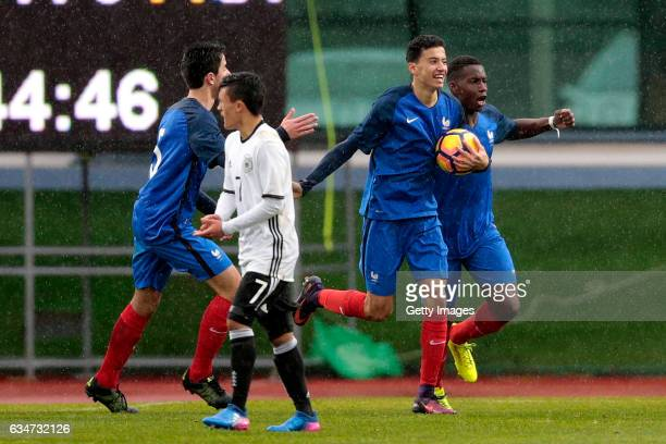 Tom Rapnouil and Brad Eneme Ella Ulrick of France U16 celebrate the first goal during the UEFA Development Tournament Match between Germany U16 and...