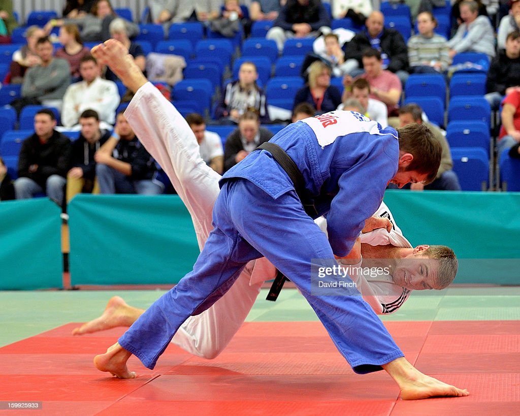 Tom Reed of of Devizes JC (blue) defeated Scott Imrie of Jidel JC with this throw for an ippon (10 points) to finish second in the u81kgs category at the British Senior Judo Championships on Sunday, January 20, 2013 at the English Institute of Sport, Sheffield, England, UK.