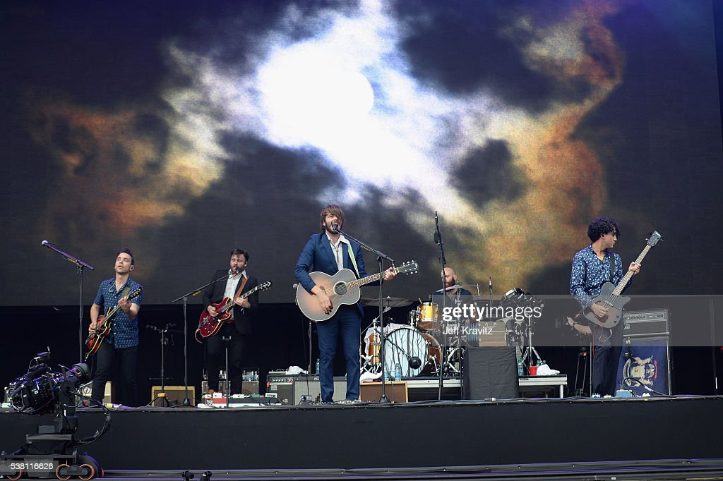Tom Renaud Brandon Walters Ben Schneider Mark Barry and Miguel Briseno of Lord Huron perform onstage during 2016 Governors Ball Music Festival at...