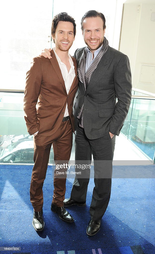 Tom Riley (L) and Rafe Spall attend the First Light Awards at Odeon Leicester Square on March 19, 2013 in London, England.
