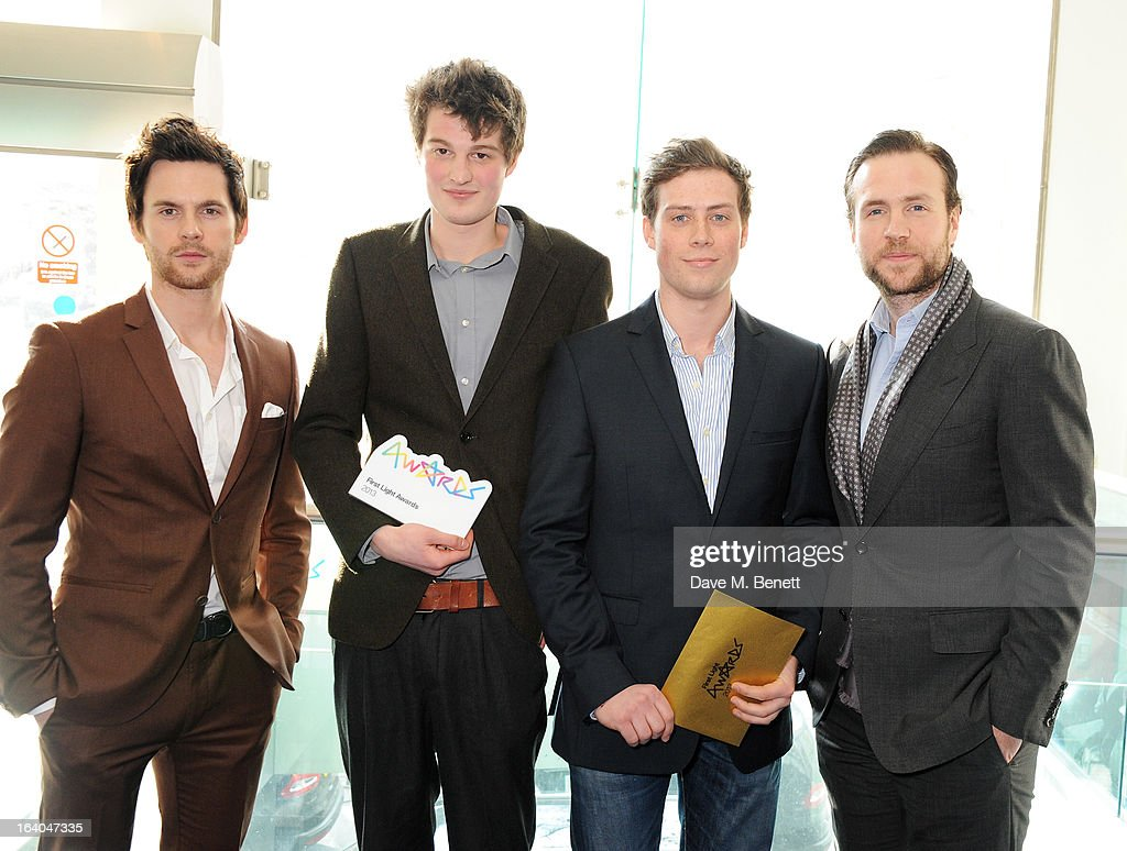 Tom Riley, Digital Innovation Award winners Gulliver Moore and Matt Cotton, and Rafe Spall attend the First Light Awards at Odeon Leicester Square on March 19, 2013 in London, England.