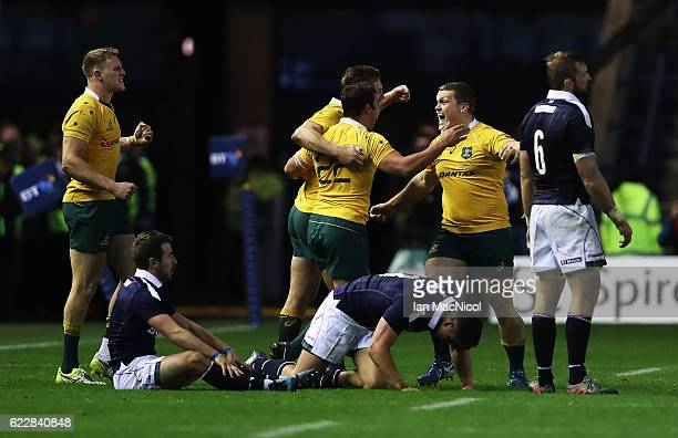 Tom Robertson of Australia celebrates at full time during the Scotland v Australia Autumn Test Match at Murrayfield Stadium on November 12 2016 in...