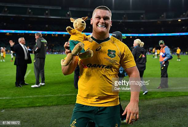 Tom Robertson of Australia celebrates with the Wallaby mascot following his side's victory the Rugby Championship match between Argentina and...