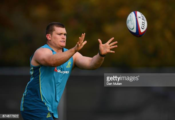 Tom Robertson of Australia receives a pass during a training session at the Lensbury Hotel on November 16 2017 in London England Australia are due to...