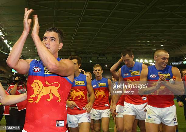 Tom Rockliff of the Lions celebrates winning the round six AFL match between the Carlton Blues and the Brisbane Lions at Etihad Stadium on May 10...
