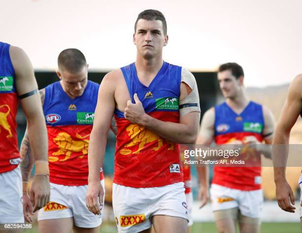 Tom Rockliff of the Lions looks dejected after a loss during the 2017 AFL round 08 match between the Hawthorn Hawks and the Brisbane Lions at the...