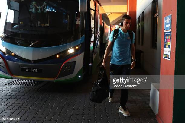 Tom Rogic of Australia arrives for the 2018 FIFA World Cup Asian Playoff match between Syria and the Australia Socceroos at Hang Jebat Stadium on...