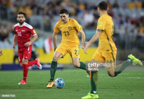 Tom Rogic of Australia controls the ball during the 2018 FIFA World Cup Asian Playoff match between the Australian Socceroos and Syria at ANZ Stadium...
