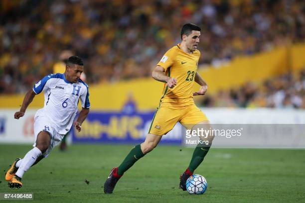 Tom Rogic of Australia controls the ball during the 2018 FIFA World Cup Qualifiers Leg 2 match between the Australian Socceroos and Honduras at ANZ...