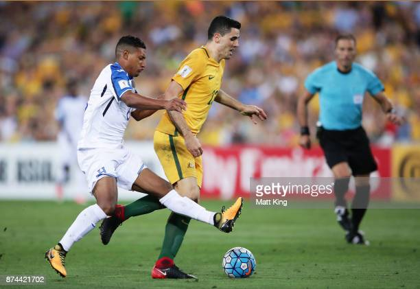 Tom Rogic of Australia is brought down by Bryan Acosta of Honduras leading to the first goal during the 2018 FIFA World Cup Qualifiers Leg 2 match...