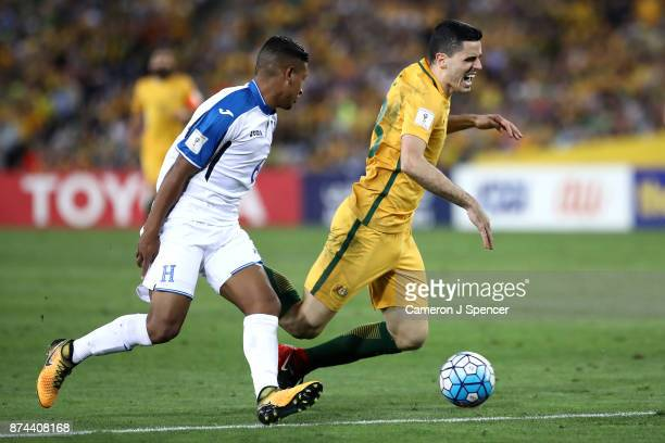 Tom Rogic of Australia is tackled during the 2018 FIFA World Cup Qualifiers Leg 2 match between the Australian Socceroos and Honduras at ANZ Stadium...