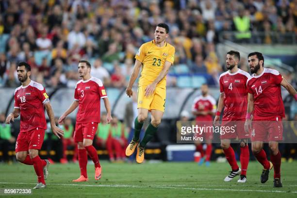 Tom Rogic of Australia reacts after a missed opportunity on goal during the 2018 FIFA World Cup Asian Playoff match between the Australian Socceroos...