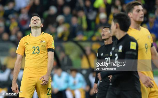 Tom Rogic of Australia reacts after missing a shot during the World Cup 2018 qualifying football match between Australia and Thailand in Melbourne on...