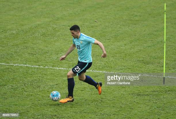 Tom Rogic of Australia runs with the ball during an Australia Socceroos training session at Hang Tuah Stadium on October 3 2017 in Malacca Malaysia