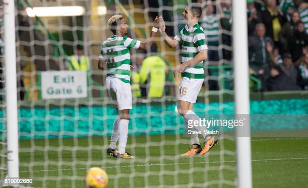 Tom Rogic of Celtic celebrates Celtic's 2nd goal with Scott Sinclair during the UEFA Champions League Qualifying Second RoundSecond Leg match between...