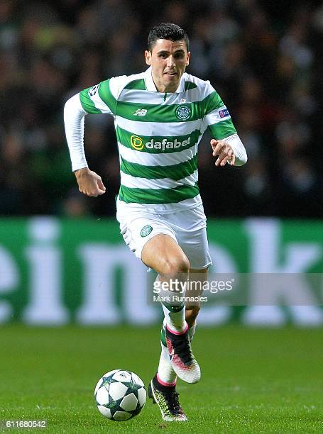 Tom Rogic of Celtic in action during the UEFA Champions League match between Celtic FC and Manchester City FC at Celtic Park on September 28 2016 in...
